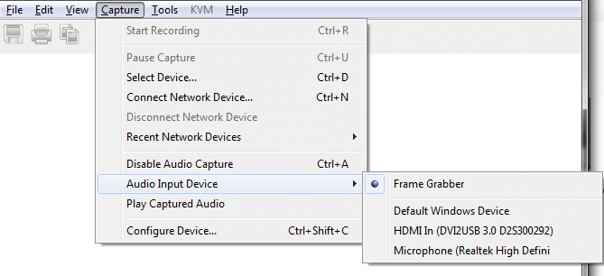 Select the audio input device from the Tools >> Audio Input Device menu