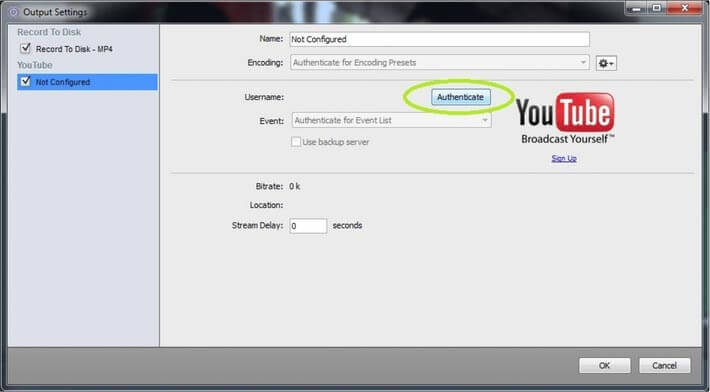 Create a live video stream on YouTube using Wirecast