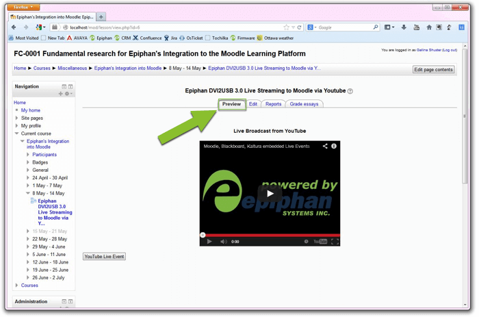 YouTube Moodle Stream 11