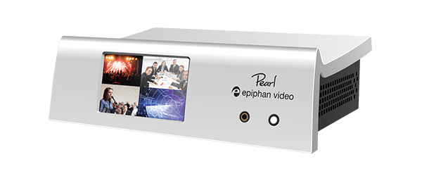 Epiphan Pearl live production video mixer showing a front view with a with a multi-view video layout.