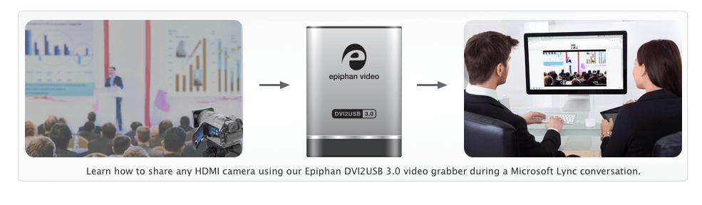 Learn how to share any HDMI camera output using our Epiphan DVI2USB 3.0 video grabber during a Microsoft Lync conversation.