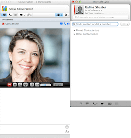Selecting the Camera icon on Microsoft Lync main window