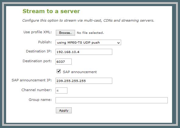 Stream to a server