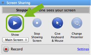 Screen Sharing on GoToMeeting Control Panel