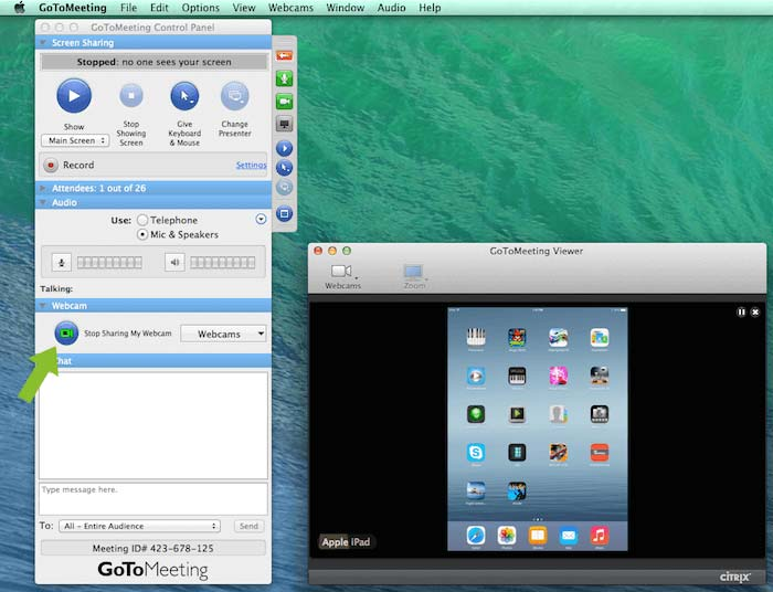 """Sharing the iPad as Webcam through GoToMeeting Control Panel"