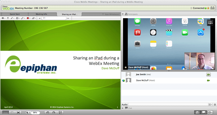 Sharing an iPad screen with a Cisco WebEx Meeting