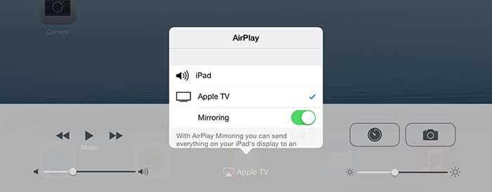 Choosing Mirroring on Apple TV