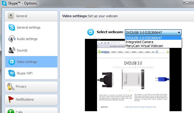 Skype window to change webcam to use Epiphan frame grabber