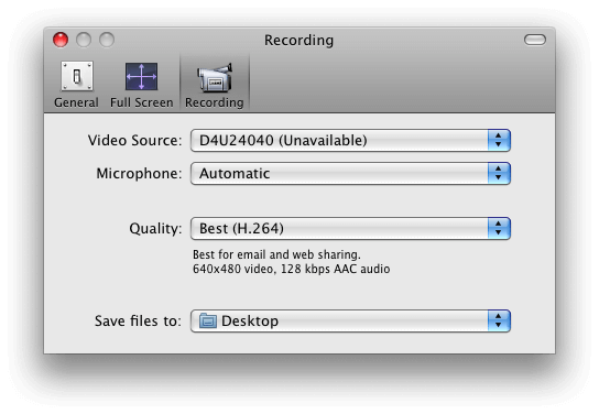 QuickTime Player preferences to choose external Frame Grabber as a video source