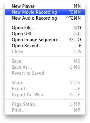 Select New Movie Recording