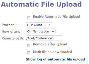 Automatic File Upload Admin Screen
