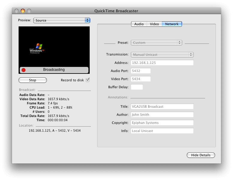QuickTime Broadcaster configuration