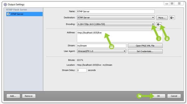 RTMP server configuration options in Wirecast