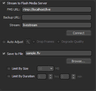 broadcast using Flash Media Live Encoder