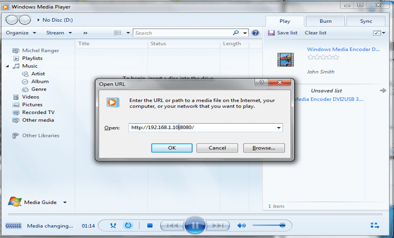 Windows Media Encode - DVI2USB 3.0 - iPad source open media player