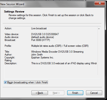 Windows Media Encoder settings for Epiphan Frame Grabber