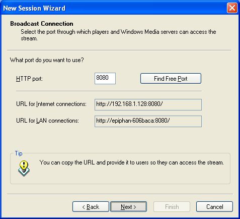 live broadcast URLs for Epiphan Frame Grabber and Windows Media Encoder