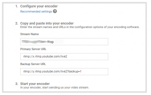 Encoder settings provided by YouTube. Copy the stream name and primary URL into the Epiphan admin interface.