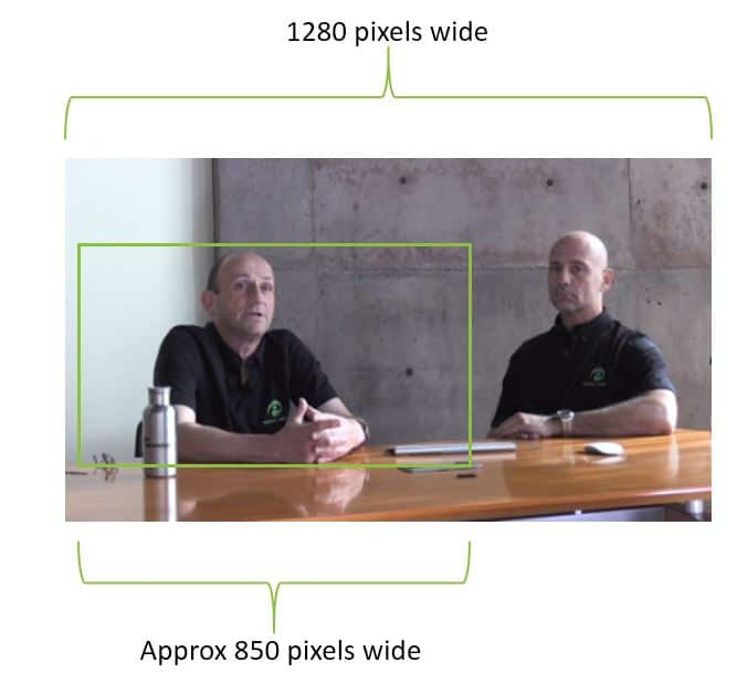 Diagram showing a green crop mark in a photo of two people, crop mark is around the subject on left and is approximately 850 pixels wide, where the full image is 1280 pixels wide.