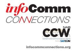 Logo for InfoComm Connctions / CCW show, November 2015. Join Epiphan there to see the latest in video capture, streaming and recording.