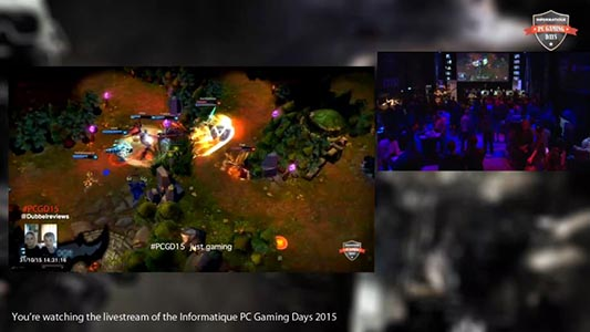Screen capture of PC Gaming Days streamed live to Twitch using Epiphan Pearl. Shows picture in picture of the event hall, a player's screen and feed of a camera looking at the game player.