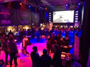 View of the live event floor with the main stage and screen in the background. Epiphan Pearl is used to stream the event live to YouTube, Twitch and on-site TVs and shoutcasters.
