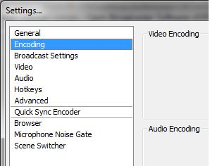 OBS encoding and video settings