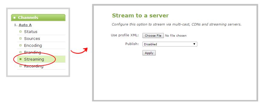 Open the Streaming configuration page on Pearl