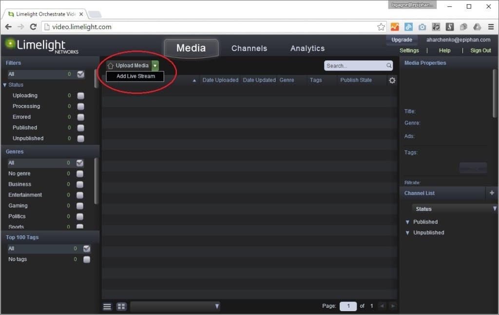 Image showing where to click to select Upload Media then Add Live Stream for Limelight streaming