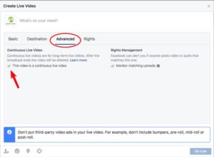 Facebook Live Enable continuous streaming