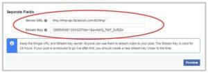 FaceBook Live Server URL Streamkey
