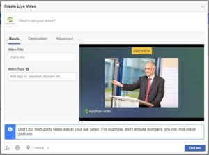 Facebook Live streaming preview window with the Go Live button in the bottom right corner of the screen.