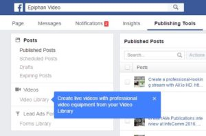 Facebook page depicting how to get started with Facebook Publishing Tools for Facebook live streaming