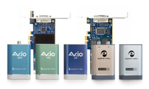 Photograph showing the family of Epiphan USB and PCIe based video grabbers (capture cards) including DVI2PCIe, DVI2PCIe Duo, AV.io SDI, AV.io HD, AV.io 4K, SDI2USB 3.0 and DVI2USB 3.0