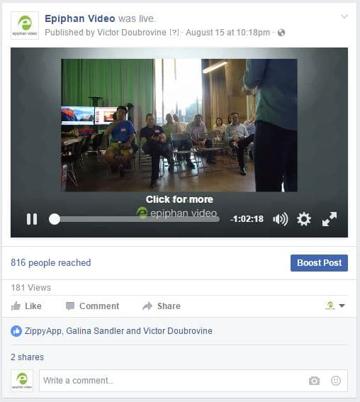 Local meetup group live streaming – Facebook Live feed