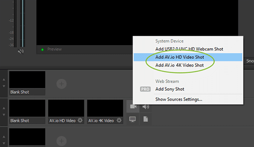 AV.io video grabbers: add sources