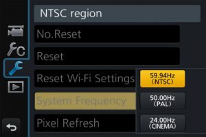 Choose the frequency setting on your Panasonic GH4 camera. Choose NTSC for 4K UHD at 30 fps or 60 fps.