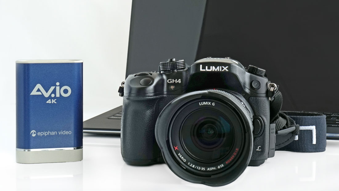 Panasonic GH4 Lumix camera with Epiphan AV.io 4K.