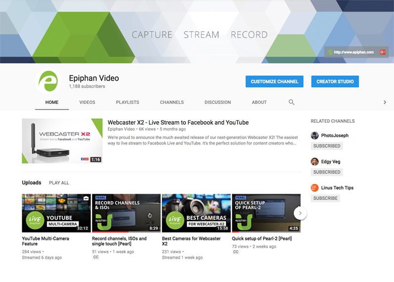 Example of our Epiphan YouTube channel complete with branding, descriptive text, and custom video thumbnails
