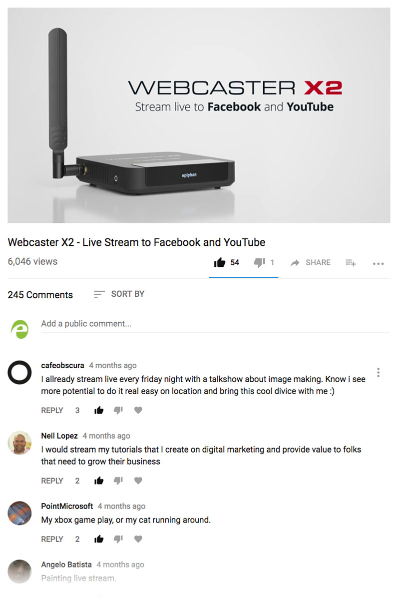 Example of YouTube engagement on our Webcaster X2 video