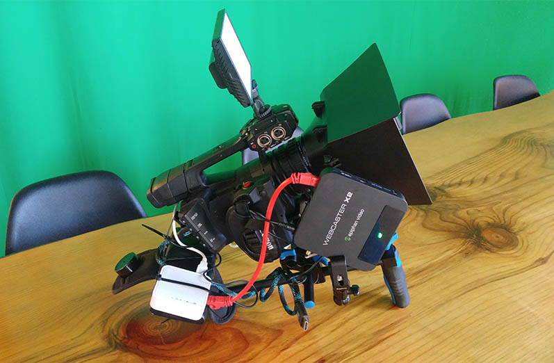 mobile streaming setup with Webcaster X2. Camera rig.