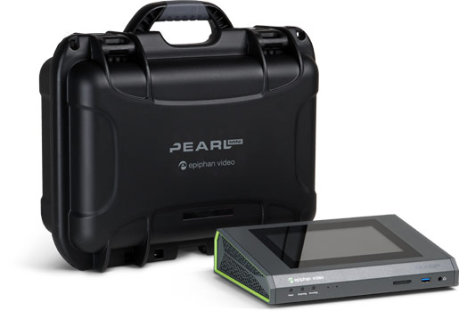 Pearl Mini video encoder with hard shell carrying case