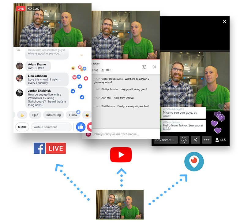 Multistream to Facebook Live, Youtube, Periscope