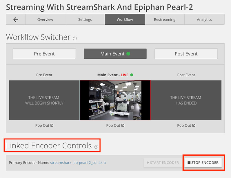 StreamShark CMS Epiphan Workflow Controls